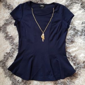 Blue blouse with built in necklace s